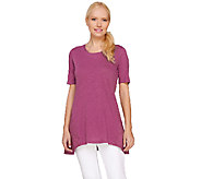 LOGO by Lori Goldstein Knit Top with Embroidered Side Godets - A263236