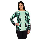 Bob Mackies Leaf Silhouette Jacquard Sweater - A263536