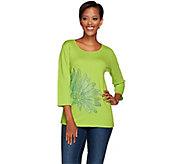 Quacker Factory Lazy Daisy Rhinestone 3/4 Sleeve T-Shirt - A264536