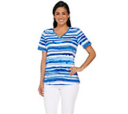 Denim & Co. Painter Stripe Printed Short Sleeve Top - A265636