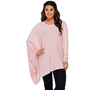 H by Halston Crew Neck Pullover Sweater Poncho - A270236