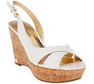As Is Marc Fisher Leather Open-toe Wedges w/ Backstrap - Wasin II - A271536