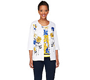 As Is Quacker Factory Floral Print 3/4 Sleeve Knit Twinset - A272036