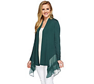 LOGO by Lori Goldstein Regular Knit Cardigan with Pleated Chiffon - A273036