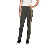 LOGO by Lori Goldstein Regular Knit Pants with Contrast Panels - A273336