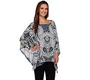Attitudes by Renee Dolman Sleeve Printed Poncho Top - A273536