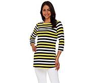 Susan Graver Striped Liquid Knit Bateau Neck 3/4 Sleeve Tunic - A274436