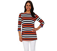 Susan Graver Striped Liquid Knit Bateau Neck 3/4 Sleeve Tunic - A274436