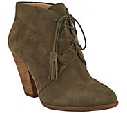 As Is Sole Society Suede Lace-Up Ankle Boots - Tallie - A276136