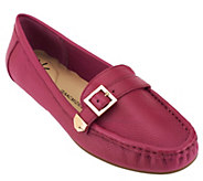As Is Isaac Mizrahi Live! Pebble Leather Moccasins with Buckle Detail - A278736