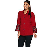 Bob Mackies Button Front Moleskin Jacket with Sequin Cuff Detail - A279236
