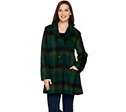 LOGO by Lori Goldstein Plaid Coat with Patch Pockets - A283036