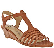As Is Isaac Mizrahi Live! Leather Fisherman Low Wedge Sandals - A283836