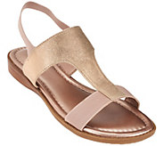 As Is Me Too Metallic T-strap Sandals with Goring - Zoey - A284636