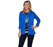 Susan Graver Liquid Knit 3/4 Sleeve Cardigan with Printed Tank - A286736