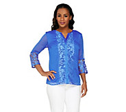 As Is Isaac Mizrahi Live! 3/4 Sleeve Embroidered Damask Top - A287236