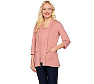 As Is Denim & Co. Open Front Cardigan & Tank Set with Novelty Trim - A287336