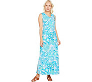 Denim & Co. Sleeveless V Neck Printed Maxi Dress - A291636