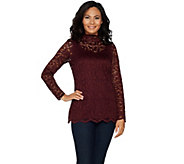 Isaac Mizrahi Live! Stretch Scroll Lace Mock Neck Tunic - A295936