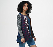 LOGO by Lori Goldstein Multi Print Long Sleeve Knit Top - A296536
