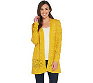 Susan Graver Cotton Acrylic Open Front Sweater Cardigan - A303336