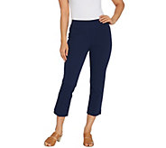Isaac Mizrahi Live! Regular 24/7 Stretch Crop Pants w/ Hem Detail - A306836