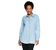 Denim & Co. Long Sleeve Lightweight Stretch Denim Big Shirt Tunic - A213037