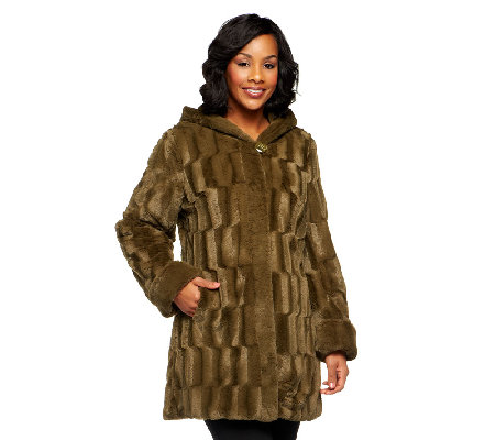 Dennis Basso Reversible Textured Faux Fur Hooded Coat