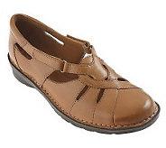 As Is Clarks Bendables Leath er Cutout Shoes w/Adj. Straps - A222337