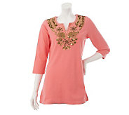 Quacker Factory Tunic w/ Sequin & Beaded Embellished Neckline - A225737