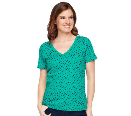 liz claiborne new york short sleeve polka dot v neck t