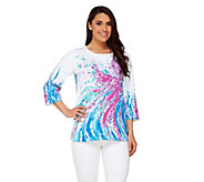 Bob Mackies 3/4 Sleeve Printed Pullover Sweater - A234237