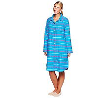Carole Hochman Plaid Long Sleeve Button Front Sleepshirt