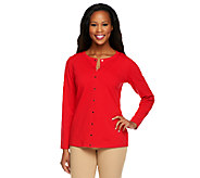 Susan Graver Weekend Stretch Cotton Snap Front Cardigan - A240137