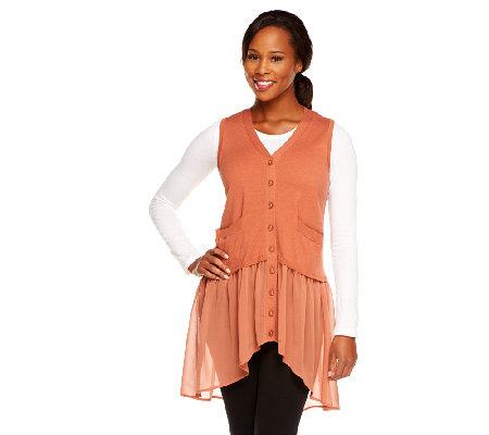 logo by lori goldstein sweater knit vest with chiffon trim a240737 qvc com