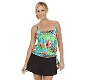 Ocean Dream Signature Aloha Breeze Blouson Tankini w/ Slit Skirt - A252537
