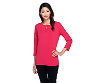 Susan Graver Liquid Knit 3/4 Sleeve Top with Ruched Keyhole Detail - A255337