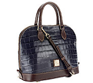 Dooney & Bourke Croco Embossed Leather Zip Zip Satchel - A258237
