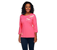 Quacker Factory Dragonfly Motif 3/4 Sleeve T-Shirt - A258937