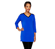 Susan Graver Liquid Knit Color Block V-Neck Tunic - A260337
