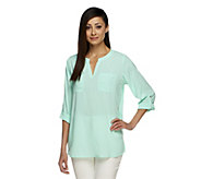 As Is Susan Graver Stretch Woven Split Neck Tunic w/ Roll Tab Sleeve - A260537