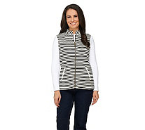 Liz Claiborne New York Striped Quilted Vest with Pockets - A261237