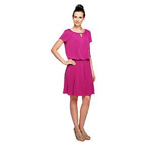 As Is Susan Graver Regular Liquid Knit Romper Dress