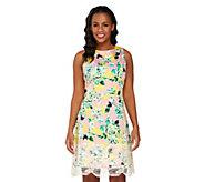Isaac Mizrahi Live! Garden Floral Print Dress w/ Lace Detail - A262837