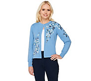 Bob Mackies Floral Embroidered Cardigan with Sequin Detail - A263337