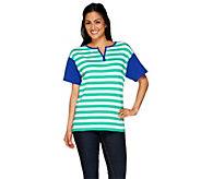 Denim & Co. Striped Knit Split V-Neck Short Sleeve Top - A265637