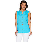 Susan Graver Linen Blend Sleeveless Y-Neck Button Front Shirt - A265837