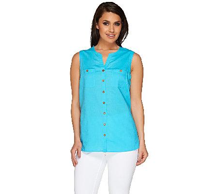 Susan Graver Linen Blend Sleeveless Y Neck Button Front