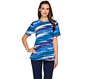 Denim & Co. Blurred Stripe Printed Scoopneck Jersey T-shirt - A266437