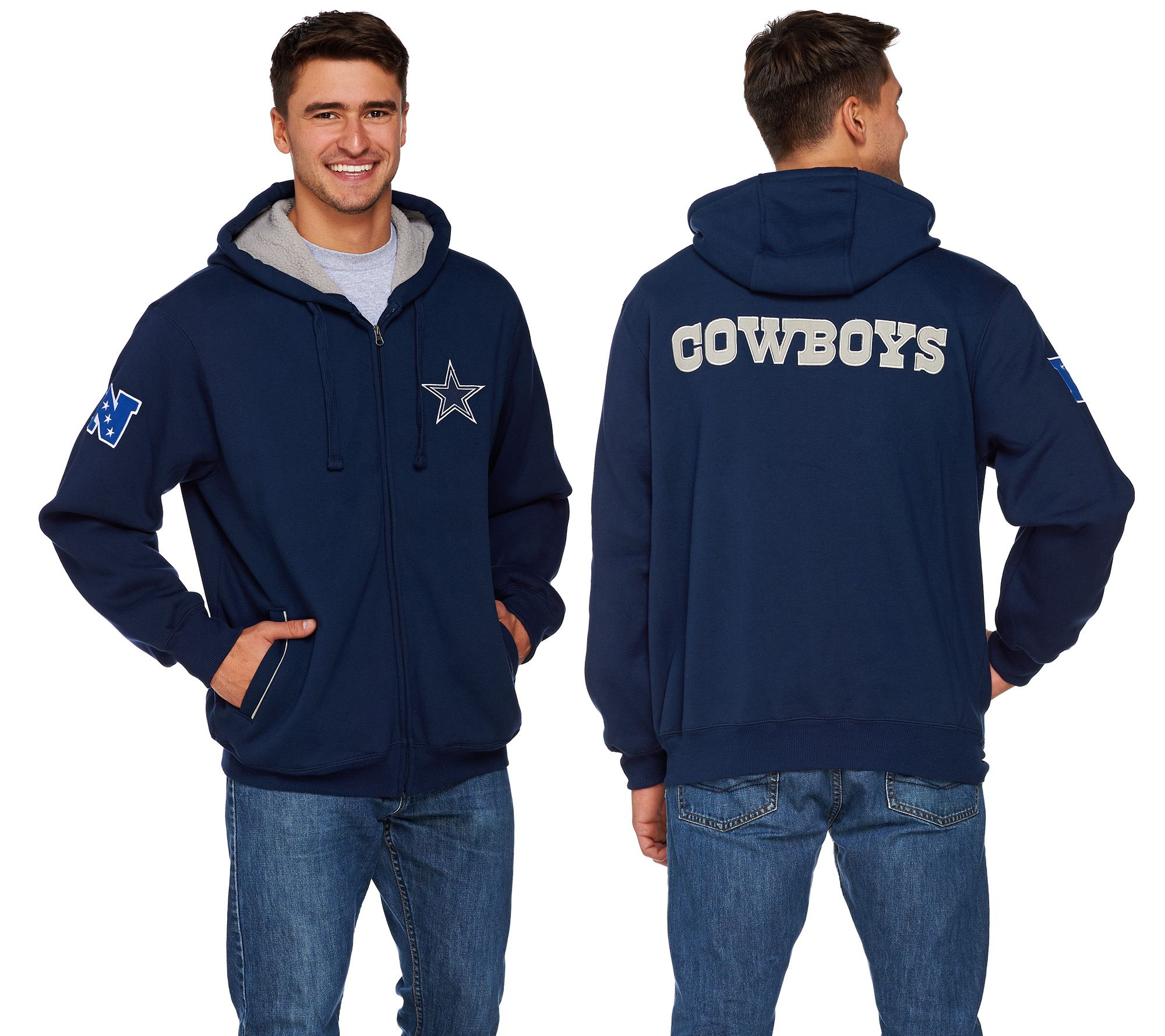 NFL Team Colors Fully Lined Sherpa Zip Up Hoodie - A268537